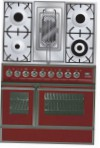 ILVE QDC-90RW-MP Red Kitchen Stove \ Characteristics, Photo