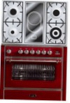 ILVE M-90VD-MP Red Kitchen Stove \ Characteristics, Photo