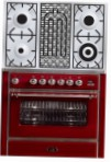 ILVE M-90BD-VG Red Kitchen Stove \ Characteristics, Photo