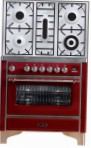 ILVE M-90PD-VG Red Kitchen Stove \ Characteristics, Photo